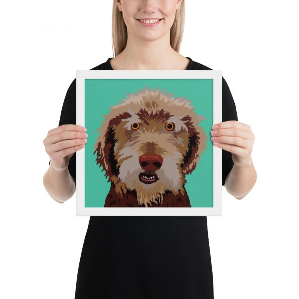 pet portrait in a white frame