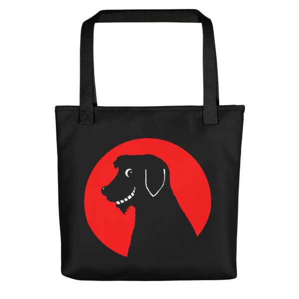 Weedgie the Dug on a black tote bag, available from Time Travellers